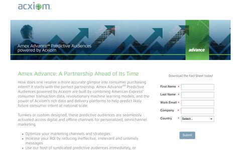 Screenshot of Landing Page acxiom.com - Amex Advance SM Predictive Audiences Fact Sheet - captured Sept. 19, 2018