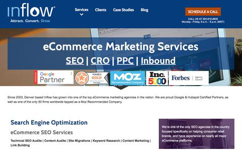 Screenshot of Services Page goinflow.com - eCommerce Marketing Services by Inflow: SEO | PPC | CRO | Inbound - captured June 18, 2017