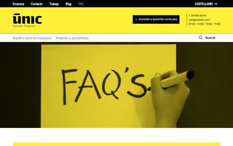 Screenshot of FAQ Page catunic.com - FAQ UNIC - captured Nov. 10, 2018