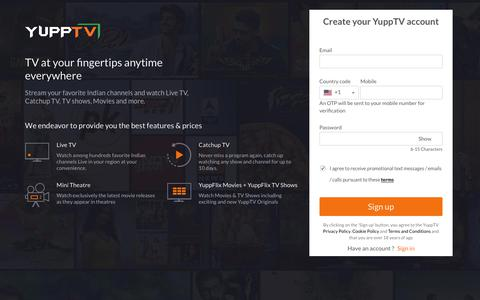 Screenshot of Signup Page yupptv.com - Registration - captured Sept. 13, 2019