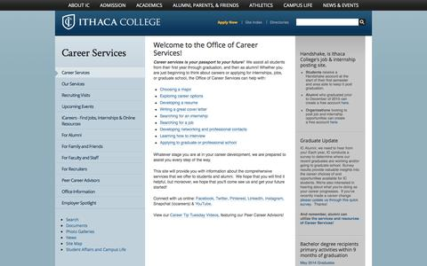 Screenshot of Jobs Page ithaca.edu - Career Services - Ithaca College - captured Nov. 26, 2016