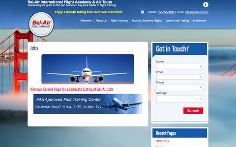 Screenshot of Jobs Page belairintl.com - Bel Air - Jobs, Flight Instructor, Aircraft Mechanic, Flight School - captured Oct. 5, 2014
