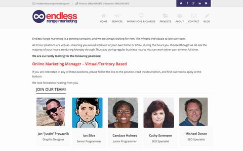 Screenshot of Jobs Page endlessrangemarketing.com - Work at Endless Range Marketing - captured Oct. 28, 2014