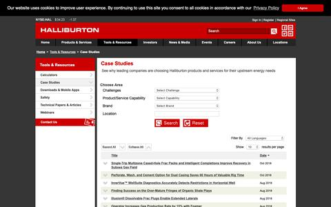Screenshot of Case Studies Page halliburton.com - Case Studies - Halliburton - captured Oct. 25, 2018