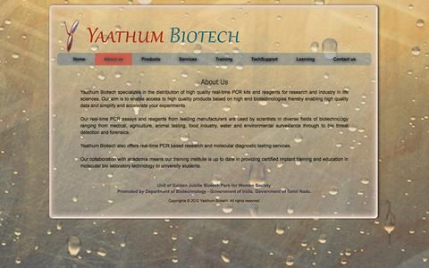Screenshot of About Page yaathumbiotech.com - Yaathum Biotech - About Us - captured Oct. 4, 2014