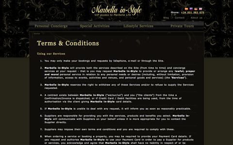 Screenshot of Terms Page marbellainstyle.com - Terms & Conditions | Marbella in-Style - captured Oct. 27, 2014