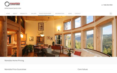 Screenshot of Pricing Page mandalahomes.com - Prefab Home Prices | Save Money + Energy On Your Mandala House - captured July 27, 2018