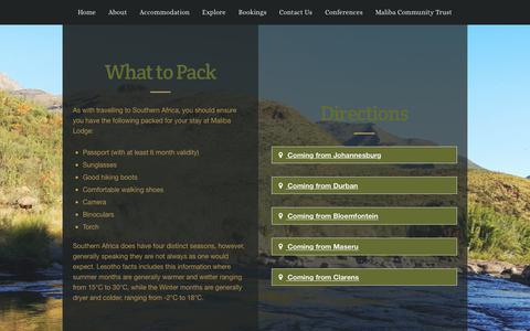 Screenshot of Maps & Directions Page maliba-lodge.com - Information - Maliba Lodge - captured Oct. 5, 2017
