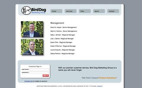 Screenshot of Team Page birddogmarketinggroup.com - Bird Dog Marketing Group - captured Oct. 5, 2014