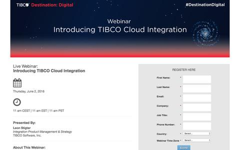 Screenshot of Landing Page tibco.com - Webinar: Move to Cloud with TIBCO BusinessWorks Container Edition - captured May 23, 2016