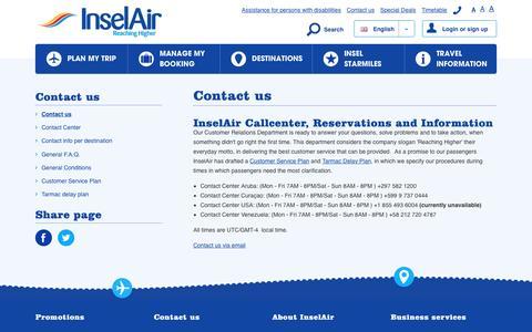 Screenshot of Contact Page fly-inselair.com - Contact us - InselAir - captured Nov. 26, 2016
