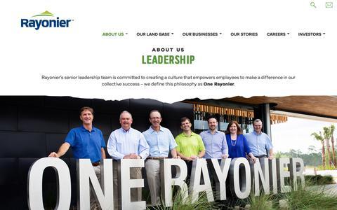 Screenshot of Team Page rayonier.com - Leadership - captured Sept. 20, 2018
