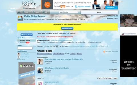 Screenshot of Contact Page iorbix.com - iOrbix Global Forum | iOrbix - captured Aug. 7, 2016