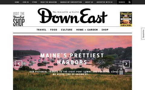 Screenshot of Home Page downeast.com - The Best Maine Travel, Food, Culture, Photos - Down East magazine - captured Oct. 12, 2017