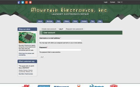 Screenshot of Login Page mountain-electronics.com - User account | Mountain Electronics - captured Nov. 16, 2017