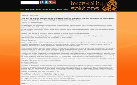 Screenshot of Terms Page tracesol.co.za - Terms & Conditions — Traceability Solutions - captured Oct. 6, 2014
