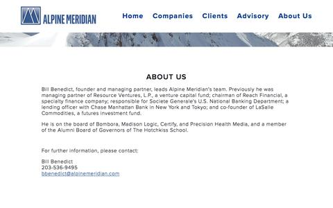 Screenshot of About Page alpinemeridian.com - About Us — Alpine Meridian - captured Feb. 5, 2016
