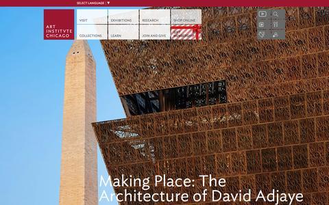 Screenshot of Home Page artic.edu - The Art Institute of Chicago - captured Dec. 20, 2015