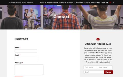 Screenshot of Contact Page ihopkc.org - Contact - International House of Prayer - captured July 3, 2017
