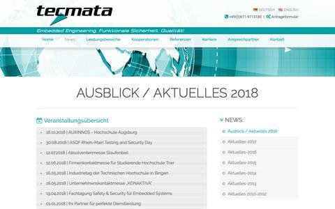 Screenshot of Press Page tecmata.com - Aktuelles 2018 - Embedded World 2018 - tecmata GmbH / Embedded Software - Engineering | Ausblick / Aktuelles 2018 - captured Oct. 20, 2018