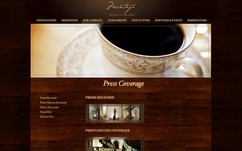 Screenshot of Press Page montagehotels.com - Sustainable Hotel Design | Montage Hotels & Resorts – Press Room | Luxury Ski & Spa Resorts - captured Sept. 18, 2014
