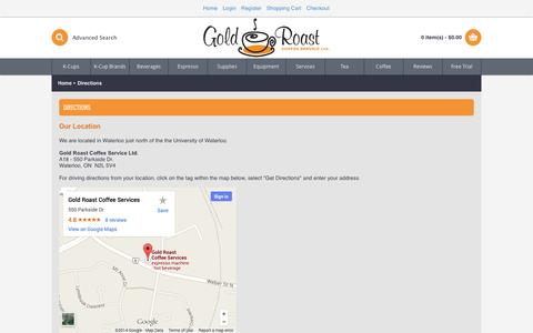 Screenshot of Maps & Directions Page goldroast.ca - Directions - captured Oct. 3, 2014