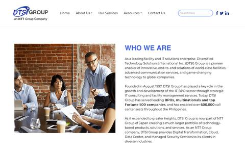 Screenshot of About Page dtsigroup.com - Who We Are - DTSI - captured Dec. 13, 2018