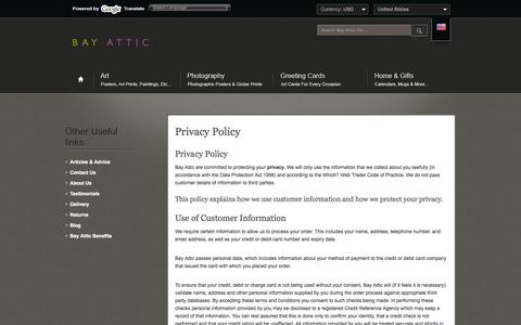 Screenshot of Privacy Page bayattic.com - Bay Attic | View our Privacy Policy for customers :: Bay Attic - captured Oct. 5, 2014