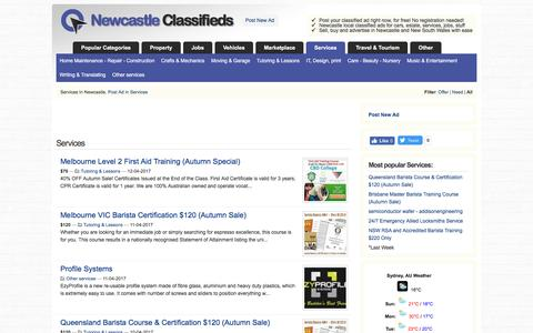 Screenshot of Services Page newcastle-classifieds.info - Services | Newcastle Classifieds - captured April 12, 2017