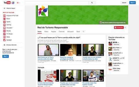 Screenshot of YouTube Page youtube.com - Red de Turismo Responsable  - YouTube - captured Nov. 5, 2014