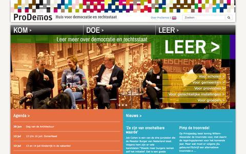 Screenshot of Home Page prodemos.nl - ProDemos   Huis voor democratie en rechtsstaat / ProDemos CMS - Prodemos - captured June 21, 2015