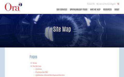 Screenshot of Site Map Page oraclinical.com - Our Site Map   Ora - captured Oct. 18, 2018