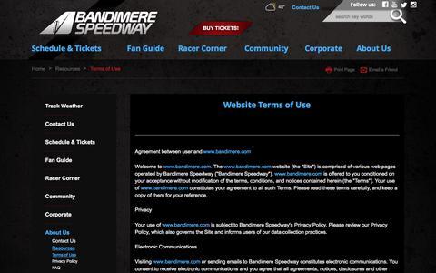 Screenshot of Terms Page bandimere.com - Terms of Use - captured Nov. 15, 2016