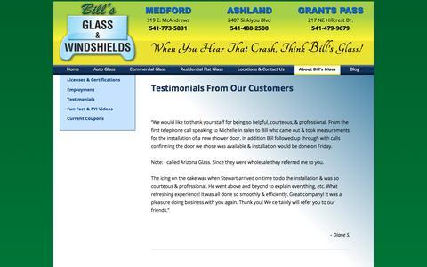 Screenshot of Testimonials Page billsglass.com - Testimonials from Our Customers - Bill's Glass serving Medford, Ashland & Grants Pass - captured Oct. 10, 2017
