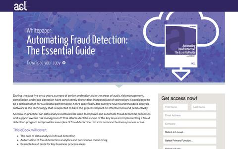 Screenshot of Landing Page acl.com - eBook: Automating Fraud Detection - captured April 20, 2018