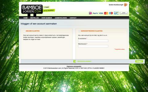 Screenshot of Login Page bamboesokken.com - Klant-login - captured Oct. 5, 2014