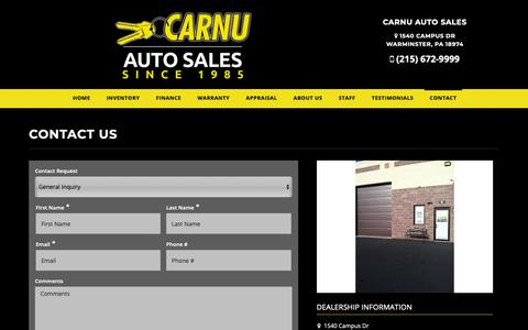 Screenshot of Contact Page carnu.com - Contact CarNu Auto Sales Dealership Warminster, PA 18974 - captured Nov. 10, 2018