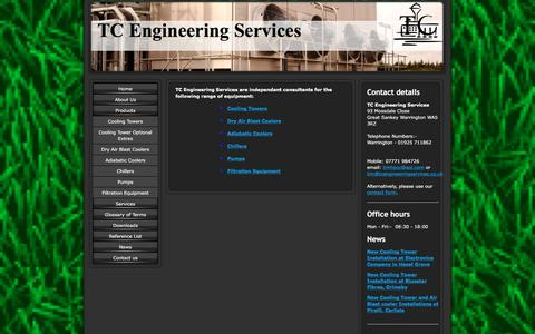 Screenshot of Products Page tcengineeringservices.co.uk - Cooling Towers, Air Blast coolers, Chillers, Filtration, Electrical, Pumps - captured Jan. 12, 2016