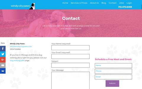 Screenshot of Contact Page windycitypaws.com - Contact Us - Windy City Paws - captured Nov. 30, 2016