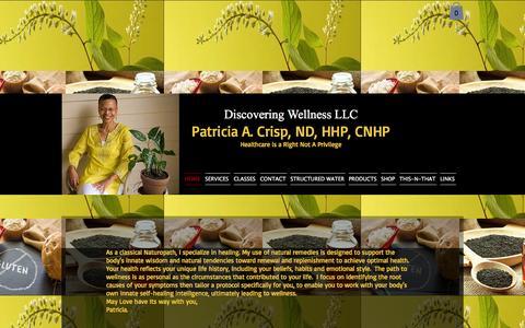 Screenshot of Home Page patcrisp.com - discovering-wellness - captured Feb. 9, 2016