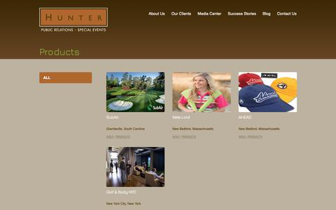 Screenshot of Products Page hunter-pr.com - Products Archives | Hunter Public Relations - captured Sept. 30, 2018