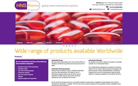 Screenshot of Products Page hnspharma.co.uk - Global Pharmaceutical Exports | HNS Pharma | First Class Service Global coverage - captured Oct. 1, 2014
