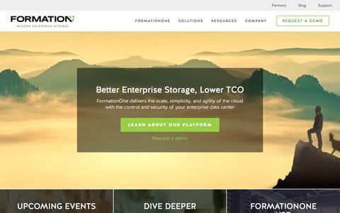 Screenshot of Home Page formationds.com - Modern Enterprise Data Storage Management Solutions - captured June 10, 2016