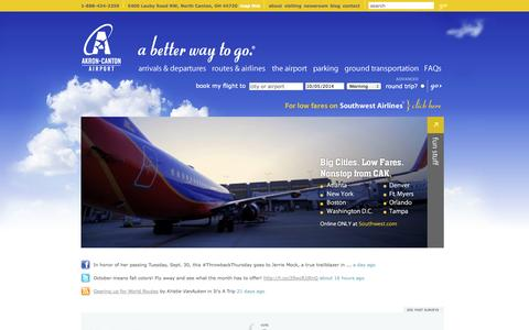 Screenshot of Home Page akroncantonairport.com - Akron Canton Airport | The preferred Ohio airport alternative to Cleveland Hopkins Airport | CAK serves the Airport needs of Northeast Ohio and beyond Akron Canton Airport - captured Oct. 4, 2014