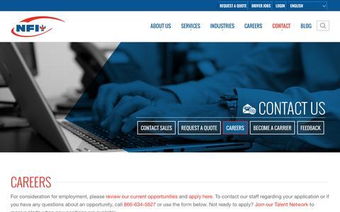 Screenshot of Jobs Page nfiindustries.com - Careers - captured Oct. 21, 2016