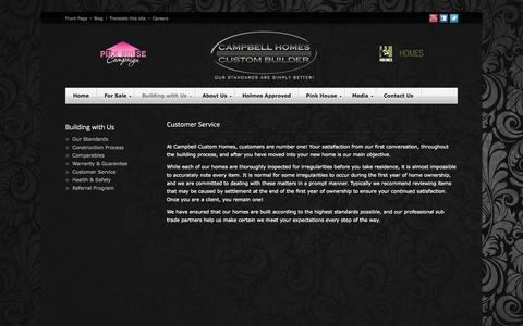 Screenshot of Support Page campbellhomes.ca - Customer Service | Campbell Custom Homes - captured Oct. 1, 2014