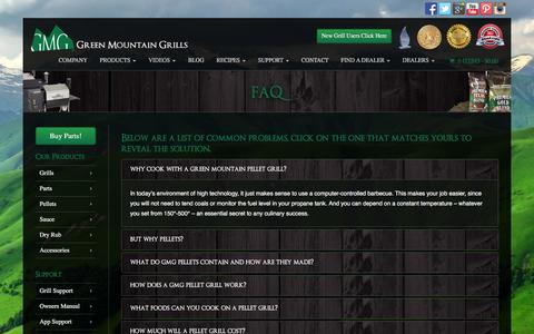 Screenshot of FAQ Page greenmountaingrills.com - .: Frequently Asked Questions :. Green Mountain Grills - captured July 19, 2016