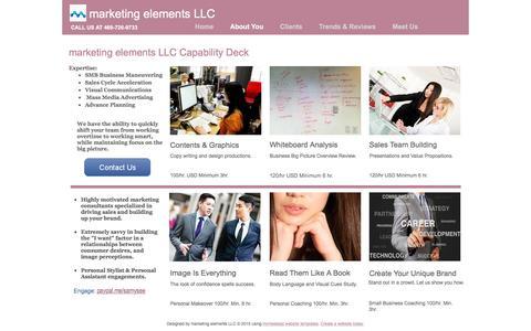 Screenshot of Menu Page marketingelementsagency.com - marketing elements LLC - captured Feb. 12, 2016