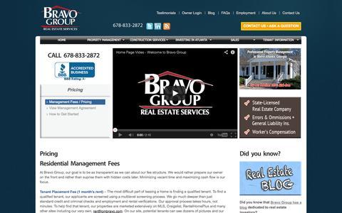 Screenshot of Pricing Page propertymanagementatl.com - Pricing - Residental and Commercial property investing in Atlanta, Stockbridge, Jonesboro, Conyers, Convington, Riverdale, Henry County, Clayton County, Dekalb County, Newton County - captured Oct. 5, 2014