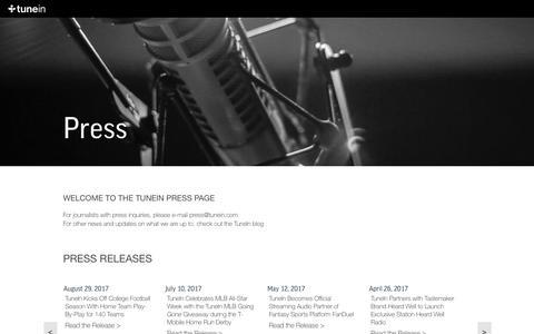 Screenshot of Press Page tunein.com - TuneIn Radio - captured Sept. 1, 2017